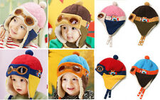 Girls Boys Baby Toddler Winter Soft Plush Warm Lovely Hat Pilots Cap Size 10M-3Y