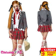 Ladies Halloween Zombie Bloody School Girl Costume Fancy Dress Party Outfits