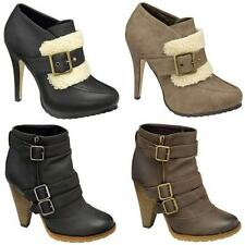LADIES HIGH HEELS BIKER BOOTS WOMEN FASHION ANKLE RIDING WINTER SMART SHOES SIZE