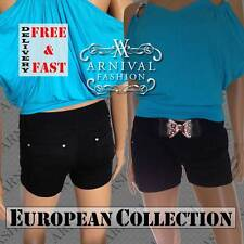 NEW SEXY belt + black SHORTS LADIES CASUAL WEAR 4 6 8 10 WOMENS HOT PANTS XS S M