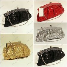 Sequinned Crystal Diamante  Satin Evening Clutch Bag Black Silver Gold Red