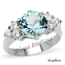 Women's Stainless Steel Round Cut London Blue Light Topaz CZ Ring Band Size 5-10