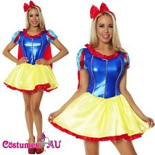 Ladies Deluxe Snow White Princess Costume Disney Fancy Dress Up Halloween Outfit