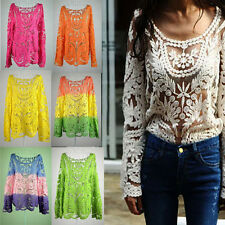 Women's Semi Sheer Sleeve Embroidery Floral Lace Crochet Tee T-Shirt Top Blouse