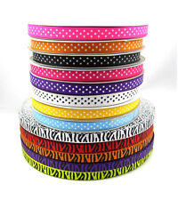 "5 Yards 3/8"" 10mm Lots Printed Cute Grosgrain Ribbon for crafts making colors"