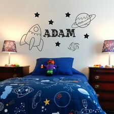 SPACE wall stickers planets retro rocket decal transfers art vinyl boys bedroom