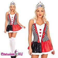Ladies Queen of Hearts Alice In Wonderland Costume Book Week Fancy Dress + Crown