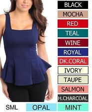 MANY COLORS Flare Peplum Sleeveless Top Sizes S M L