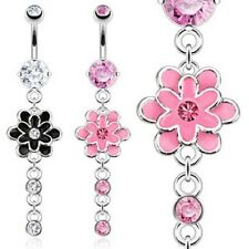 316L Surgical Steel Navel Layered Epoxy Flower with CZ Dangle Navel Belly Ring