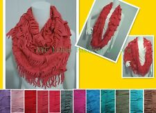 Women Winter Bohemian Casual Trendy Style Fringe Infinity Scarf Loop Circle Wrap