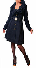 LADIES FRILLED COLLAR BELT LINED BUTTON WINTER TRENCH COAT JACKET BLACK 10 12 14