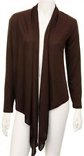 No 1 Funwear Factory Brown Drape Hemline Long Sleeve Lightweight Open Jacket