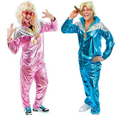 MENS BLUE / PINK CHAV LADIES 80s 90s SHELL SUIT FANCY DRESS TRACKSUIT
