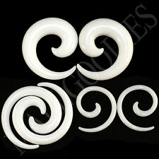 """V127 White Spiral Swril Stretchers Tapers Expanders 4 2 0 00G Gauges 1/2"""" Plugs"""