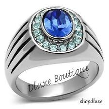 MEN'S OVAL CUT SIMULATED BLUE SAPPHIRE DOME CRYSTAL SILVER STAINLESS STEEL RING