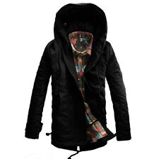 KDQ24 Mens Winter Military Trench Coat Ski Jacket Hooded Parka Thick Overcoat