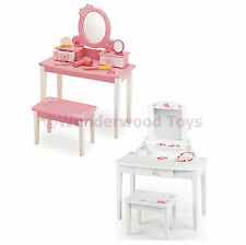 Wooden Childrens Dressing Up Vanity Unit Table & Stool - Pink & White Ages 3+