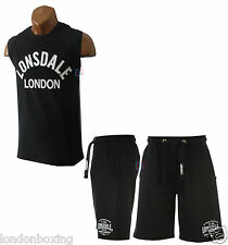 Lonsdale Boxing Mens Black Gym Training Set Muscle Singlet & Shorts