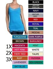 MANY COLORS Cotton Lace Adjustable Straps Basic Cami Plus Tank Top Size 1X 2X 3X