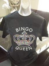 NEW Rhinestone Studded BINGO QUEEN Bling T-Shirt  Sizes S, M, L, 2XL,