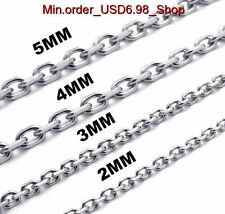"2MM-5MM & 16-18"" 316L Stainless Steel Wist Chain Charm Necklace L075196"