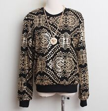 Vintage Womens Hand Made Luxury Sequins Sparkle Blouse Jumper Hoodie Sweats