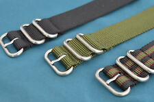 HEFTY ZULU 3 RING MILITARY STYLE BLACK, OLIVE, + BOND STYLE WATCH STRAPS / BANDS