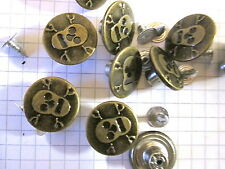 10 or 20 Bronze Metal  Skull Jean Tack Buttons.  Hallowe'en, Goth, Embellishment