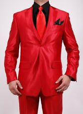 Ferrecci Mens Red Shiny Sharkskin 2pc 2 Button Wedding Prom Grad New Years Suit
