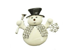 Crystal Stone Paved Metal Snowman Pin and Brooch ~ Gift Idea!