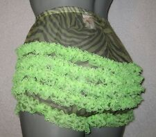 ULTRA sheer ZEBRA PRINT sissy ruffle  frilly nylon panties  med wait-35 in