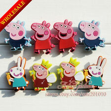 8-40pcs For New Peppa Pigs Kids PVC Shoe Charms Shoe Accessories Kids Party Gift