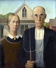 3373.Old Couple with Trident & Church Painting POSTER.School Home Room Art decor