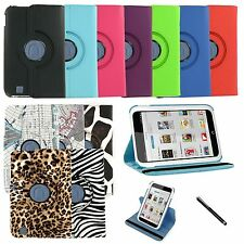 360 Rotating Leather Case Cover Stand for BARNES & NOBLE Nook HD 7 Inch + Stylus