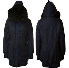 NEW WOMENS LADIES WATERPROOF PADDED FUR TRIM HOODED PARKA NAVY COAT JACKET  8-16