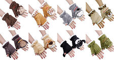 11Color Women Girl Winter Warm Plush Animal 3D Fingerless Texting Mittens Gloves