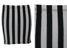 NEW WOMENS BLACK WHITE VERTICAL STRIPED STRETCHY JERSEY MINI SKIRT SIZE 6-16