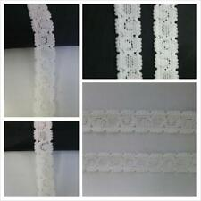 "2 Y off white / white double scalloped narrow stretch lace trim 1/2"" W S4-4"