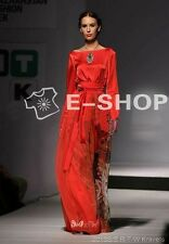 Designer Runway High Fashion Silk Long Sleeve Red Maxi Dress with Square Collar