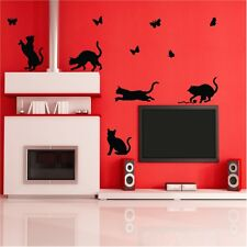 Art Mural Chats jouant stickers chat branche autocollant transfert design chien vinyle
