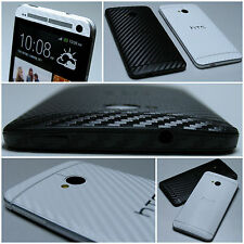 For HTC ONE M7 3D Textured CARBON Fibre FULL BODY Vinyl Wrap Sticker Skin Cover
