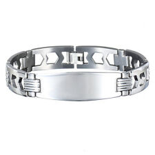 Janeo Mens Stainless Steel Name Plate Bracelet Christmas Gift Idea for Him Sale