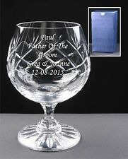 Personalised Lead Crystal Brandy Glass Any Message Text Engraved Best Man Gift