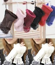 Women's HQ Real Rabbit Fur Hand Wrist Warmer Fingerless Winter Gloves