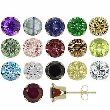 14K Solid Yellow Gold 3mm to 6mm Natural Gemstones Stud Earrings ! Top Quality !