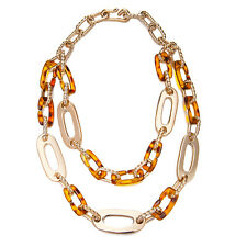 Janeo Tortoise Shell Rose Gold Chunky Links Necklace Christmas Gift For Her £6
