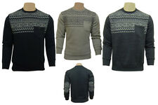 Mens Boys Crew Neck Casual Smart Aztec Print Fleece Jumper Sweatshirt Top