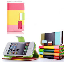 Color Wallet PU Leather Flip Wallet Case Cover For Apple iPhone 4 4s