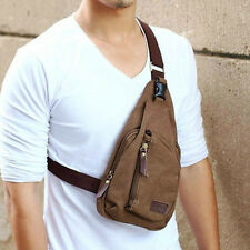 Men's Small Military Canvas Messenger Shoulder Hiking Fanny Crossbody Sports Bag
