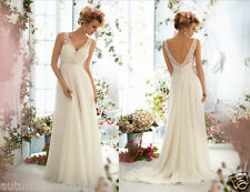 New Sleeveless Chiffon&Lace V Neck White/Ivory Wedding Dress Size6-8-10-12-14-16